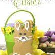 Happy Easter yellow and lime green theme gingerbread bunny cookie with text — Stock Photo