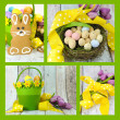 Collage of four images of Happy Easter yellow and lime green theme gingerbread bunny cookies — Stock Photo