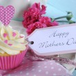 Happy Mothers Day cupcake and vintage tray — Stock Photo #45128661