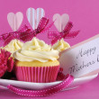 Happy Mothers Day cupcakes on pink background — Stock Photo #45128757