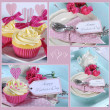 Happy Mothers Day collage of four images of pink theme cupcakes gifts on vintage aqua blue tray setting with berries and cream — Stock Photo #45128899