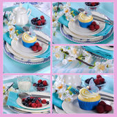 Collage of five cupcake images with butterfly wafer decoration on vintage aqua blue tray setting with berries and cream. — Stock Photo