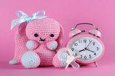 Pink baby girl nursery clock — Photo