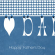 Happy Fathers Day letters, I heart Dad, bunting hanging from peg — Stock Photo #45876079
