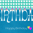 Blue theme Happy Birthday Bunting Wallpaper — Stock Photo