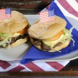 USA Fourth of July Hamburgers in Wooden Tray — Stock Photo #46563705