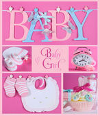 Pink Baby Girl Collage — Stock Photo