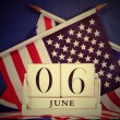 Retro vintage style D-Day calendar and USA and British flags — Stock Photo
