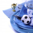 voetbal voetbal party tafel in blauw en wit teamkleuren — Fotografia Stock  #46973457