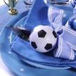 Soccer football party table in blue and white team colors - clos — Foto Stock