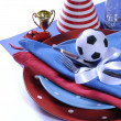 Soccer football party table in red white and blue team colors. — Stock fotografie #46973663
