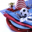 Soccer football party table in red white and blue team colors. — ストック写真