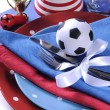 Soccer football party table in red white and blue team colors - — Photo