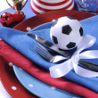 Soccer football party table in red white and blue team colors - — Zdjęcie stockowe