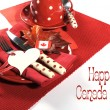 Happy Canada Day red and white table setting — Stock Photo #47532141