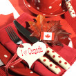 Happy Canada Day red and white table setting — Stock Photo #47532179