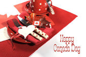 Happy Canada Day red and white table setting — Stock Photo