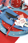 Happy Fourth of July Dining Table Place Setting — Stock Photo