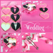 Wedding collage of four pink, black and white bride and groom heart shape cookies — Stock Photo