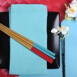 Colorful modern Japanese Oriental table place setting — Stock Photo #48513961