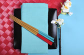 Colorful modern Japanese Oriental table place setting — Stock Photo