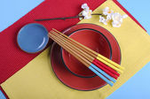 Colorful modern Japanese Oriental table place setting — Foto de Stock