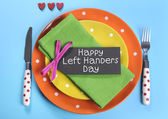 Happy Lefthanders Day, for August 13, International Left-handers Day, table setting in reverse — Stock Photo