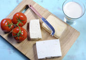 Health food dairy free soy and goats cheese food group — Stock Photo
