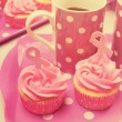 Pink cupcakes with Pink Ribbon symbol for International Breast C — Stock Photo #51437413