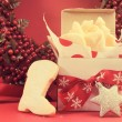 Christmas gift box of shortbread biscuit cookies with festive or — Stock Photo #51438095