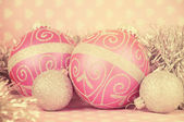 Beautiful pink Merry Christmas bauble decoration ornaments close — Stock Photo