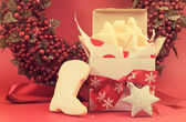 Christmas gift box of shortbread biscuit cookies with festive or — Stock Photo