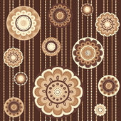 Seamless pattern with abstract flowers in brown — Stock Vector