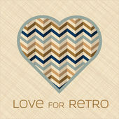 Heart with pattern in retro colors — Vettoriale Stock