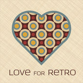 Heart with pattern in retro colors — Stock Vector