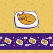 Card with cute little cat dreaming of fish — Stock Vector #19365889