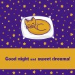 Card with cute little cat dreaming of fish — Stock Vector