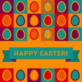 Tarjeta de pascua con huevos y banner. — Vector de stock