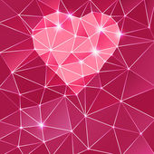 Background with heart and triangle polygons. — Foto Stock