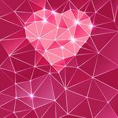 Fondo con corazón y triángulo polígonos. — Foto de Stock