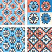 Conjunto de patrón de moda con flores abstractas — Vector de stock