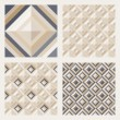Set of floor tiles. Patterns with square diamonds — Stock Vector