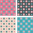 Set of seamless patterns in retro colors — Stock Vector