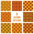 Set of eight seamless patterns — Stockvektor