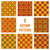 Set of eight seamless patterns — Vettoriale Stock