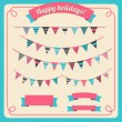 Set of bunting and garland, with banners — Stock Vector