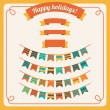 Set of bunting and garland, with banners — Stock Vector #30338715