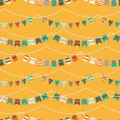 Colorful pattern with bunting and garland — Stock Vector