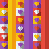 フラット アイコンのスタイルで心と背景 — ストックベクタ