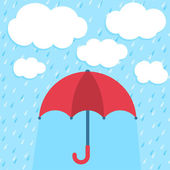 Vector illustration with umbrella and clouds — Stock Vector